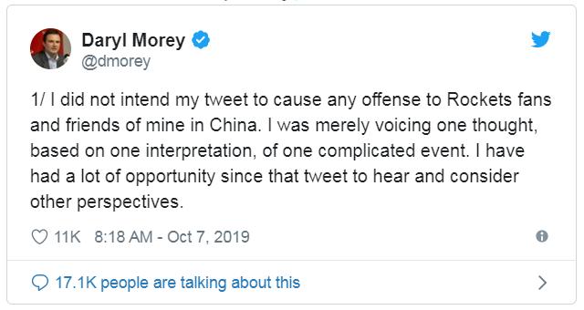 NBA莫雷说中国